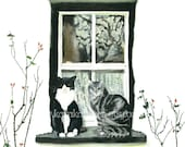 Print, 8X10, Cats on Windowsills Series Painting - By the Rose Bushes
