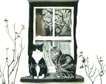 Cat on Windowsill, Print, French Country, Watercolor Painting of Black and White Cat with Gray Tabby Cat, Lace Curtains- By the Rose Bushes