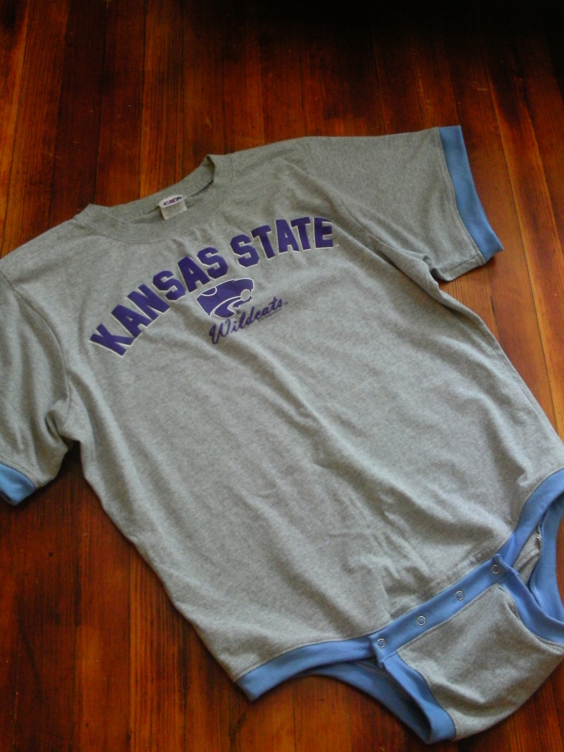 Adult-Sized Onesie, Kansas State Screen Print. From aidankid