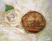 Vintage Double Mirror Renaissance Scene Compact