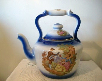 Gorgeous Shabby Chic Big Porcelain Empire Ware Fraganard Courting Couple Royal Blue White Teapot French Cottage