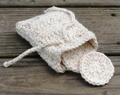 Round Eco Friendly Reusable Crochet Cotton Eye Make-up Removers with Carrying Bag Pouch--set of 8