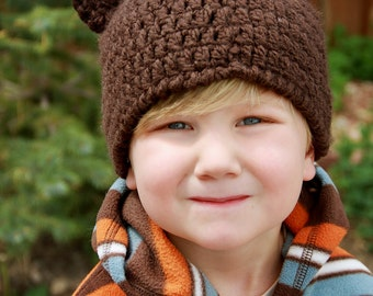Chunky Chocolate Brown Bear Ear Beanie Hat--Any Size