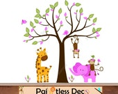 Jungle Wall Decal - Nursery Wall Decal Safari Monkeys Tree Friends Wall Decal Sticker for Baby Girl - Children Zoo Animal Wall Decal -CHH S5