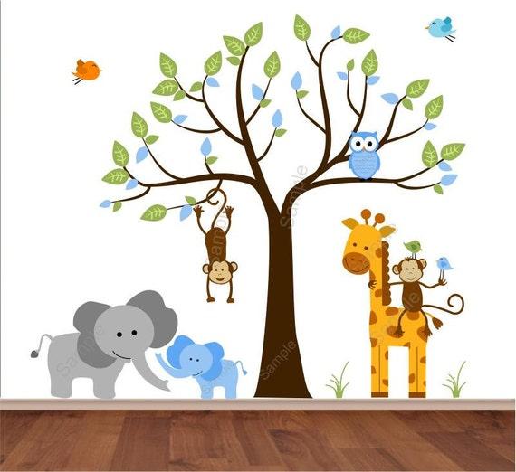 Tree Wall Decal - Jungle Wall Decal - Baby Boy Elephant with Mom, Giraffe,