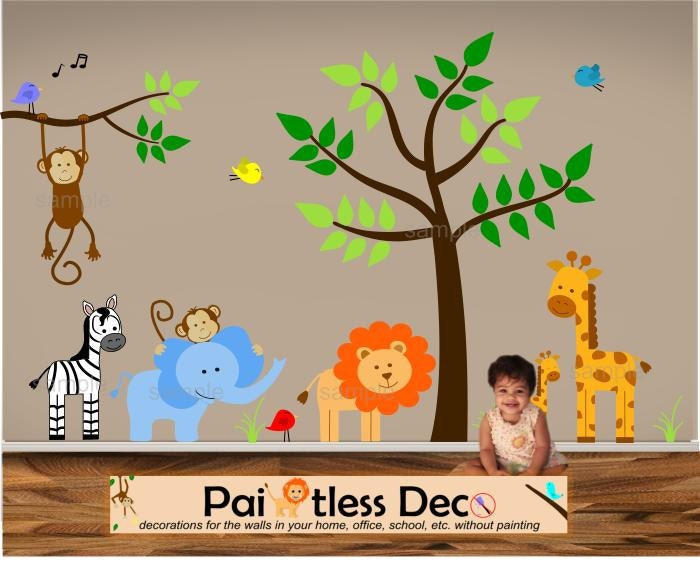 Jungle theme nursery wall decal jungle bedroom by for Animal wall mural