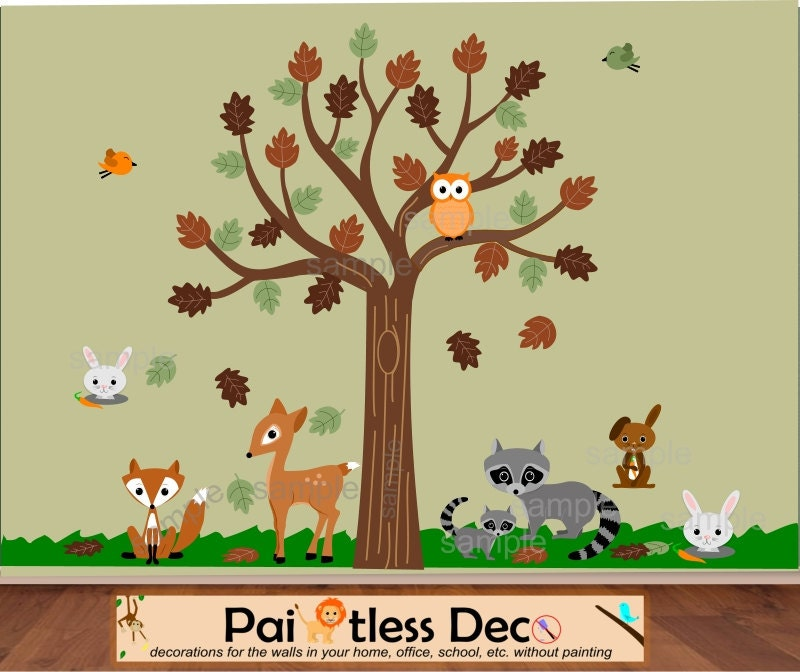 Forest Wall Decal Forest Animals Decal Woodland By