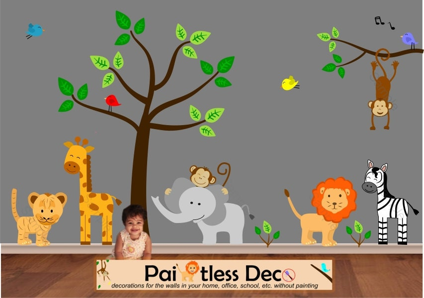 Jungle wall decal jungle decals tree decal tiger decal for Baby jungle safari wall mural