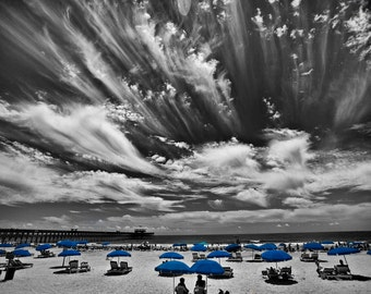 Folley Beach, SC, in Black, White and Blue