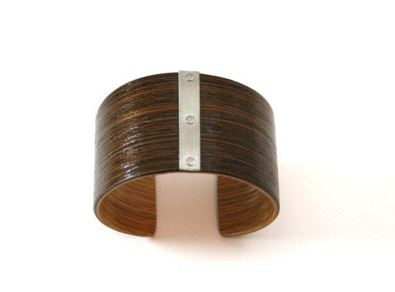 Wenge Bracelet, Stainless Steel Shortband