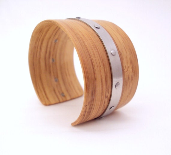 Bamboo Bracelet, Stainless Steel Longband, Eco-chic