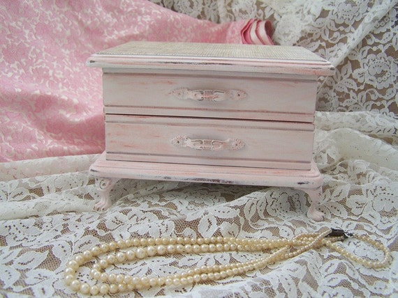 French Farmhouse Vintage Footed Jewelry Chest