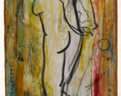 Hands Clasped, woman (nude) mixed media encaustic painting