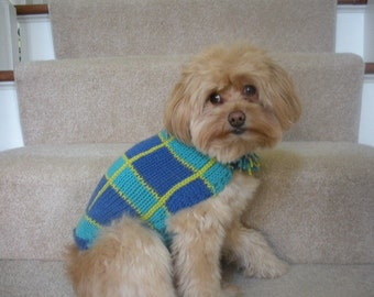 Dog Sweater Coat - Fun Plaid Fringe - Royal Blue and Aqua - Small to Medium