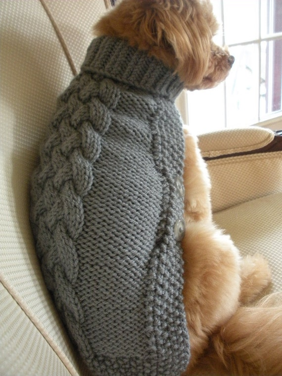 Knitting Pattern For Medium Sized Dog : Dog Sweater Basket Weave Button Down Silver Grey Hand