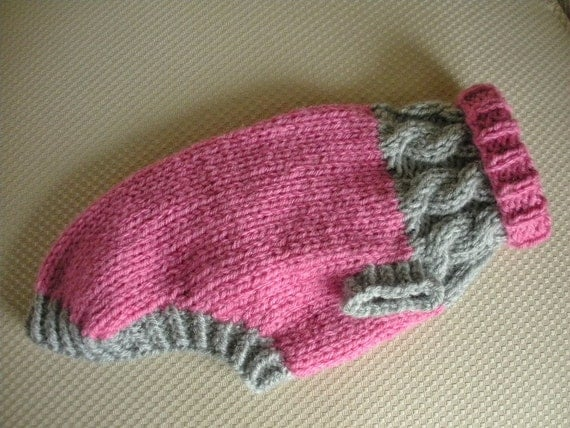 Dog Sweater - Color Block Cable Knit - Pink & Grey - Small - Ready to Ship