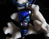 "Handmade Dichroic Glass Fused Pendant by Michele                                                1 1/2""L x 1""  W"