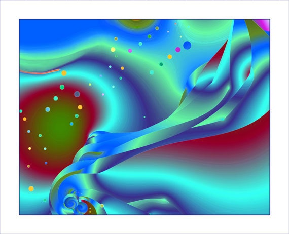 """Playful abstract, sea green, blues, deep red, ocean, """"MERMAIDS AT REST"""", fine art, sensuous (prints in two sizes)"""