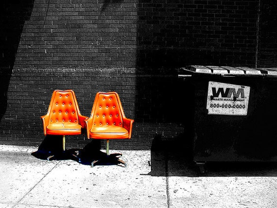 """Art photo, bang of orange, black, white, city streets """"Frankford Ave., Seating Available"""", Philly, retro, fine art , 11x14"""" Giclee print"""