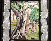 Tree Monster in The Cemetery w/ Handpainted Mat LARGE VERSION