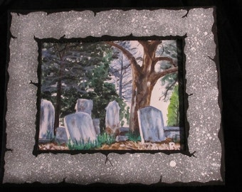 Decatur Cemetery Study Print w/ Handpainted Mat