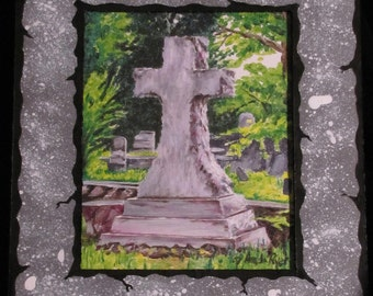 Large Cross in Decatur Cemetery Print w/ Handpainted Mat