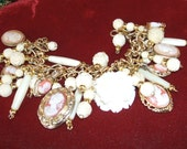 Vintage Cameo Charm Bracelet Carved Bone Roses 8 Cameos Cameo Locket