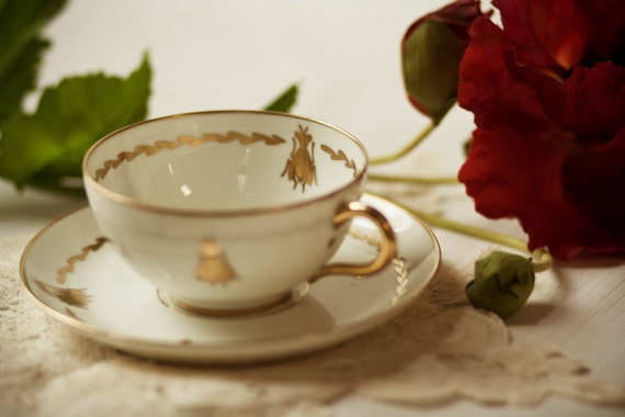 Napoleon Bee Limoge Tea Cup and Saucer