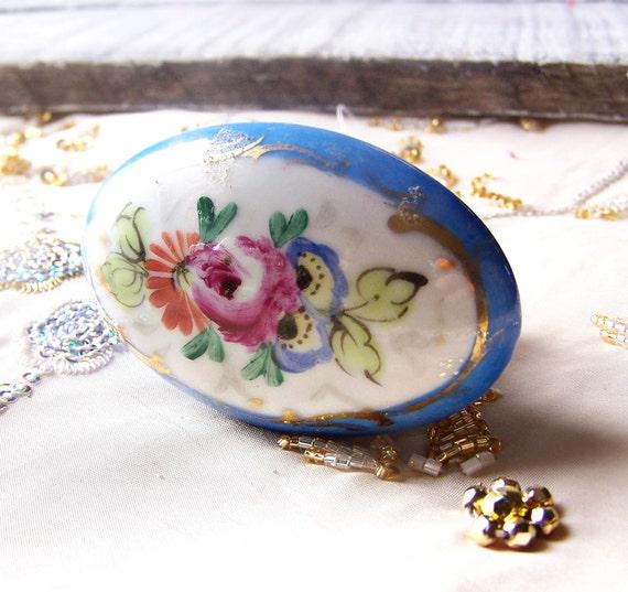 Antique Handpainted Oval Floral Porcelain Doorknob