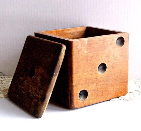 Vintage Wood Dice Box / Humidor