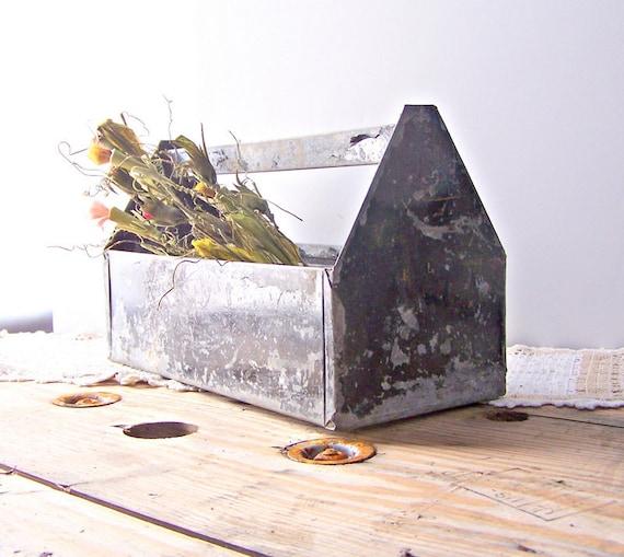Vintage Chippy Black Paint Metal Tote / Toolbox