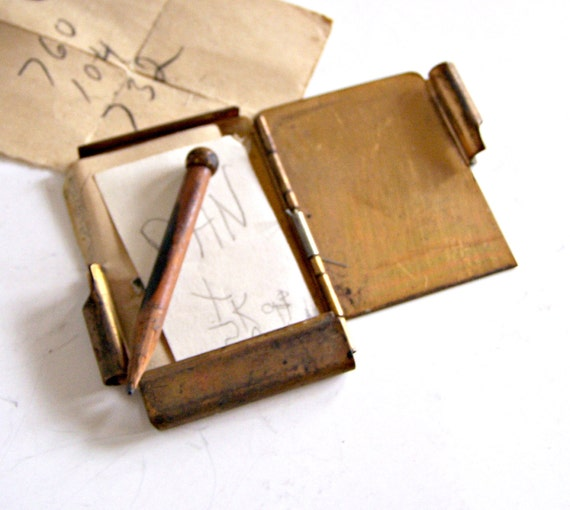 Vintage Mini Brass Notebook / Note Pad and Pencil