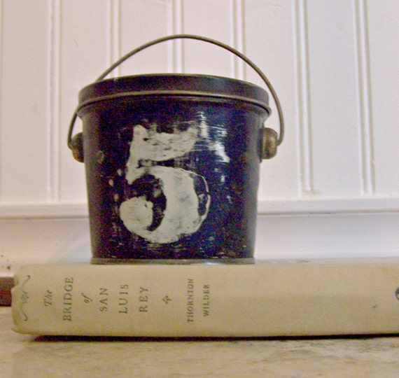 Reserved for Michelle ONLY / Vintage Chippy Blue Bucket with Lid and Metal Handle NO.5