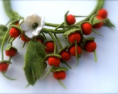 Felted necklace  Red berries/ RESERVED