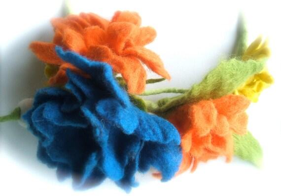 OOAK Felt necklace orange, blue, yellow MEADOW /Ready to ship