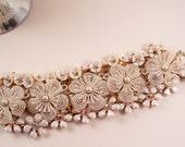 Snow Flowers Repurposed Vintage Jewelry Cuff Bracelet