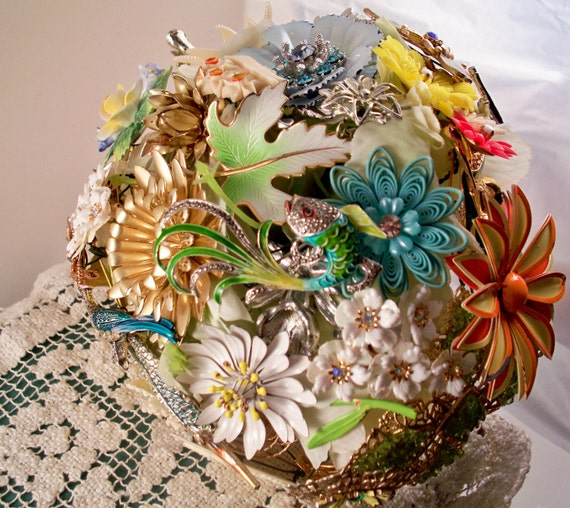 Wild Flowers Vintage Brooch Bridal Bouquet