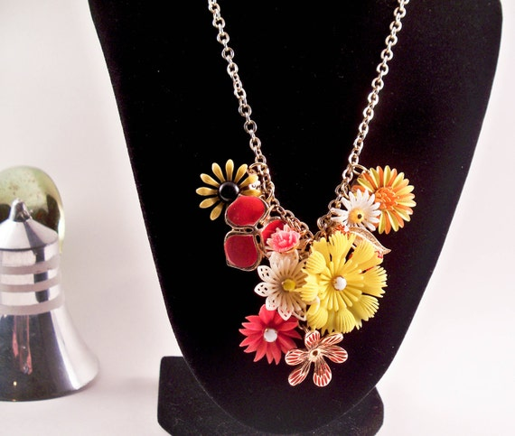Daisy Chain Repurposed Vintage jewelry Necklace one of a kind