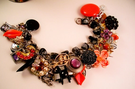 Happy Owloween Repurposed Vintage Jewelry Charm Bracelet one of a kind