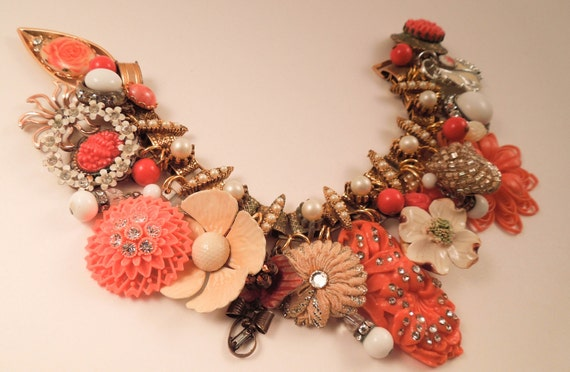 Orange Blossom Repurposed Vintage Jewelry Charm Bracelet One of a Kind