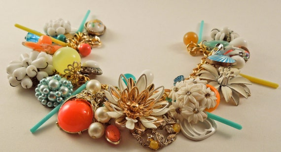 Le Soir Repurposed Vintage Jewelry Charm Bracelet one of a kind