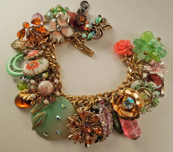 Pink Nouveau Repurposed Vintage Jewelry Charm Bracelet one of a kind