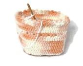 SALE Crochet Yarn Bowl Peach White