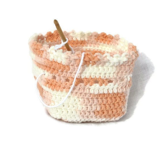 SALE Crochet Yarn Bowl Peach White