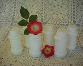 Milk glass SPICE JARS, WHITE Glass, set of 6
