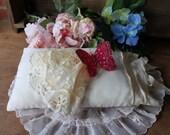 Vintage WHITE BABY PILLOW Shabby Chic Ring Bearer Pillow Wedding