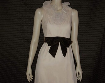 Vintage 60s Dress Chiffon Nude Ruffle with Bow