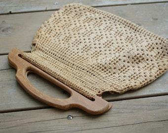 Vintage Purse Woven Wood Handle