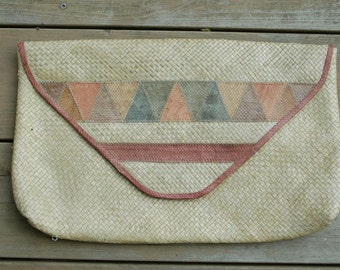 Vintage Clutch Oversize Raffia and Patchwork