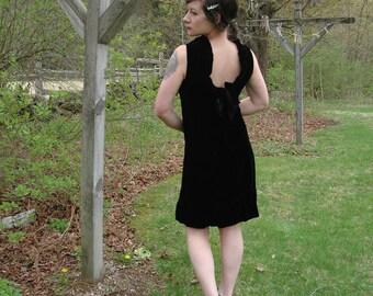Vintage 60s Black Velvet Dress